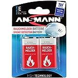 ANSMANN Batterie speziell für Rauchmelder Feuermelder Brandmelder CO-Melder Longlife Alkaline 9V E-Block (2er Pack) 6LR61 6AM6 MN1604 Rauchmelderbatterie 7 Jahre lagerfähig
