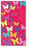 2017 Slim Week To View Hardback Diary - Deep Pink with Glitter Butterflies