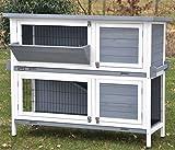 nanook'Bunny' - Kaninchenstall, Hasenstall doppelstöckig, wetterfest für draußen - mit Heuraufe und Tragegriffen - Farbe: grau / weiß