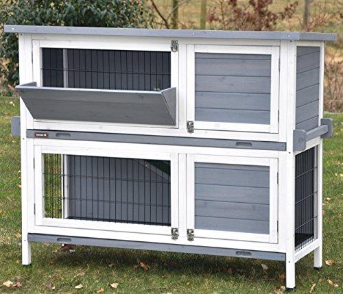 """nanook """"Bunny"""" - Kaninchenstall, Hasenstall doppelstöckig, wetterfest für draußen - mit Heuraufe und Tragegriffen - Farbe: grau / weiß"""