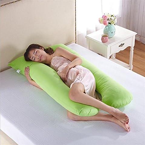 XXFFH® Pure Cotton U-type pregnant women pillow to help sleep pillow breast pillow , green