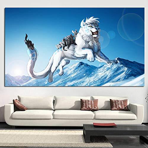 tzxdbh Drucken Künstlerische Tiere Weiße Löwenmaus Ölgemälde