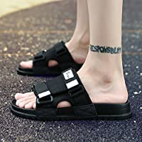 fankou Summer Fashion Shoes Men's Non-Slip Personality Camouflage Slippers Casual Beach Cool Slippers Men and,43, Black-and-White