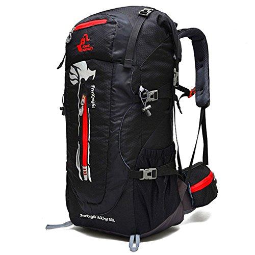 HWJDK 50L Outdoor Sport Klettern Camping Angeln Radfahren Skifahren Rucksack Bergsteigen Große Wandern Daypack Wasserdichte Tasche Black