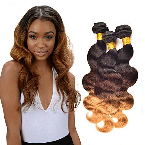 NEWFB brésilien Ombre Vierge Cheveux 3 lots 100% cheveux humains Blonde Ombre Vierge Extensions cheveux T1b / 4/27 Couleur ( 16 18 20 Pouces)