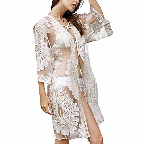 Hirolan Damen Spitze Lotus Langer Kimono Mantel Oberteile Passen Abdeckung Strandkittel Cardigan Exotische Vintage Boho Hippie Häkeln Quasten Mini Kleid Bikini Bademode Vertuschen (Einheitsgröße, Kaffee)