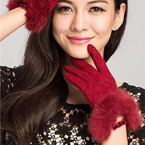 Full Lace cashmere v-cou gants de laine de haute qualité bow cheveux mesdames chaud gants gants écran tactile,Wine Red