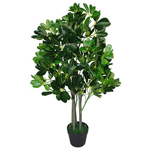 Blatt-Entwurf UK 95cm Umbrella Tree Dark Green – Extra Large Artificial Evergreen Ficus Pflanze – Topf in Schwarzem Kunststoff-Topf