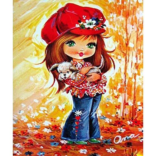 Lddkw fai da te diamante 5d pittura set completo di strumenti strass ricamo immagini cappuccetto rosso e cane decorazione della parete di casa mestiere regalo trapano-trapano, 40x50 cm d1227