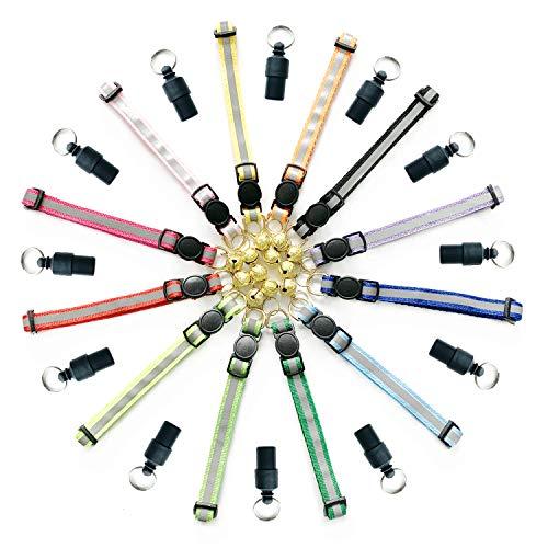 PietyPet Katzenhalsband, 12 Stück Einstellbare Reflektierende Schnellverschluss Haustier Halsband Katzenhalsbänder mit Glocke und 12 Stück Adressanhänger mit Schlüsselring für Katzen, kleine Hunde