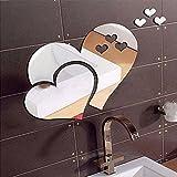 stickers muraux , 3D miroir amour coeurs amovible Wall Sticker autocollant bricolage maison art mural décor (argent)