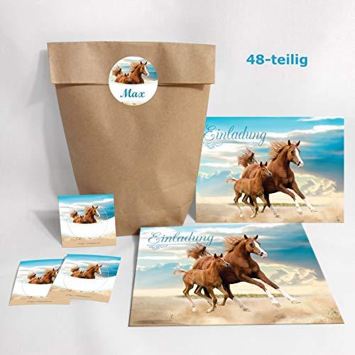 12-er Set Einladungskarten, Umschläge, Tüten, Aufkleber zum Kindergeburtstag für Mädchen Pferd / Fohlen / zwei Pferde (12 Karten + 12 Umschläge + 12 Party-Tüten (Kreuzbodenbeutel) + 12 Aufkleber)