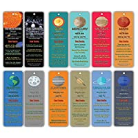 Creanoso Planets and Universe Fun Facts Bookmark Cards - Solar System and Galaxy Learning Pack - Excellent Party Favors Teacher Classroom Reading Rewards and Incentive Gifts for Young Readers