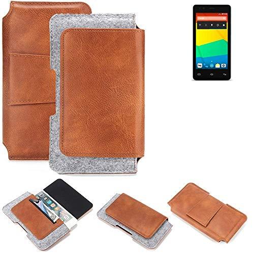 K-S-Trade Gürteltasche für BQ Readers Aquaris E4.5 Gürtel Tasche Schutz Hülle Hüfttasche Belt Case Schutzhülle Handy Hülle Smartphone Sleeve aus Filz + Kunstleder (1 St.)