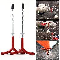 2pcs/lot Piquets à vis fixe à ongles Ice Tarière spirale perceuse Tige de support matériel de pêche