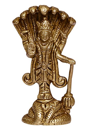 ELITE Brass Statue / Idol Of Lord Vishnu for Blessing , Health , Happiness and Stability at Home & Office , Handcrafted with Antique Look/ Diwali Gift Product Dimensions (LxBxH - 1.75 x 1.5 x 3.5) Inches, Weight - 225 Gms By Crafthut