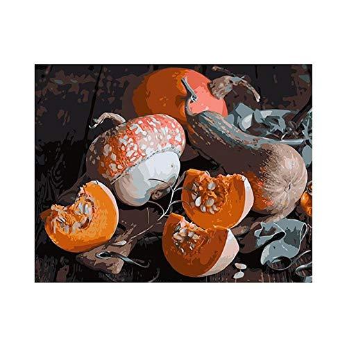 XDXART DIY Ölgemälde Malen nach Nummer Kit für Kinder Erwachsene Anfänger 16x20 Zoll - Kürbisse, Zeichnen mit Pinsel Weihnachtsdekor Dekorationen Geschenke (Rahmen)