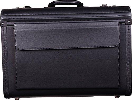 D & N Business & Travel Pilotenkoffer PU mit 2 Verschlüssen 51 cm Vortasche, schwarz
