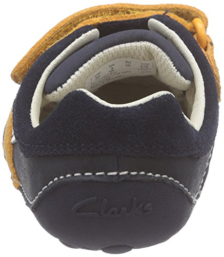 Clarks Kids Tiny Zakk, Baskets premiers pas mixte bébé Bleu (Navy Combi)
