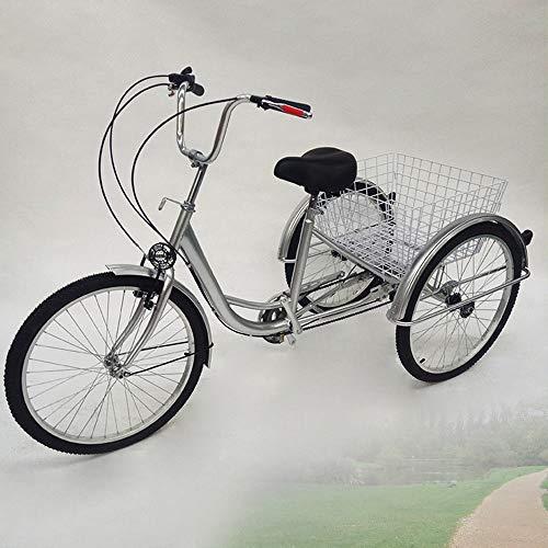 LianDu 24'6 velocità 3 Ruote Bicicletta da Crociera per Adulti Bici Ibrida Triciclo Bici Triciclo Triciclo Bici con Cesto e Lampada (Argento)