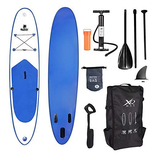 Professionelles Stand up Paddel Board - SUP von XQ Max - 305cm - komplettes Set mit Pumpe, Flickwerkzeug, Fußleine, verstellbares Paddel und wasserdichte 2L Tasche - Waikiki Blau -