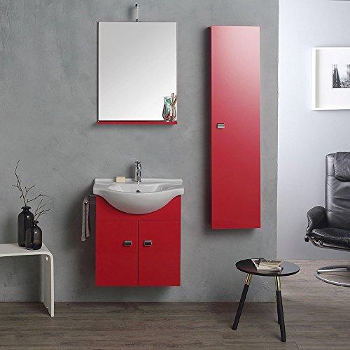 Composizione bagno 58cm in rosso lampone per piccoli spazi