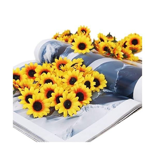 Beito 100 flores artificiales de gerbera para manualidades, bodas, fiestas (girasol amarillo)
