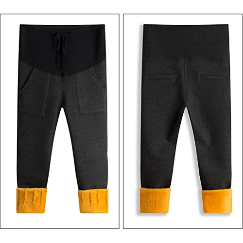 Zhhlaixing Winter Warm Pregnant Pants Thicken Plus Velvet Maternité Leggings Trouser Hot Dark Gray
