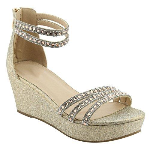 BESTON - Keile Damen, Gold (Gold), 36.5 B(M) EU - Womens Strappy Wedge Sandal