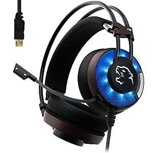 AOSO Cuffie USB da Gioco 7.1 Surround Sound Cuffie USB da Gaming con microfono Deep Bass per PC, Nero