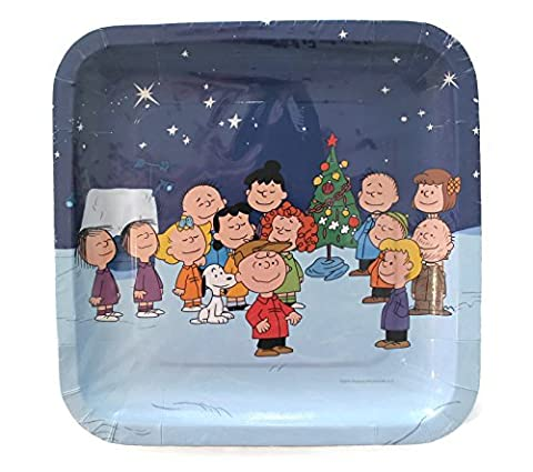 Peanuts Gang Charlie Brown Snoopy Christmas Square 9 Dinner Plates 8 Ct. by Peanuts (Snoopy Charlie Brown Christmas)