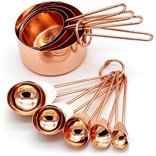 Juego 8 vasos medidores acero inoxidable cobre cucharas