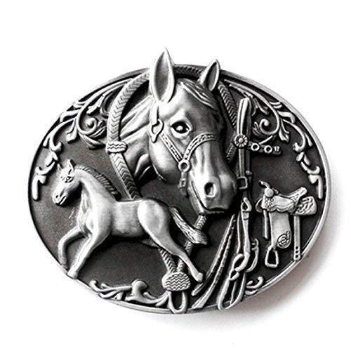 Western Buckle Pferd mit Fohlen, Rodeo - Gürtelschnalle - Rodeo Western Gürtelschnalle