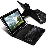 Aventus (Black) Tablette Micro USB-QWERTY Tastatur-Kasten 7 '' Zoll ultradünne PU-Standplatz-Abdeckung mit Magnetverschluss für Amazon Fire HD Tablet