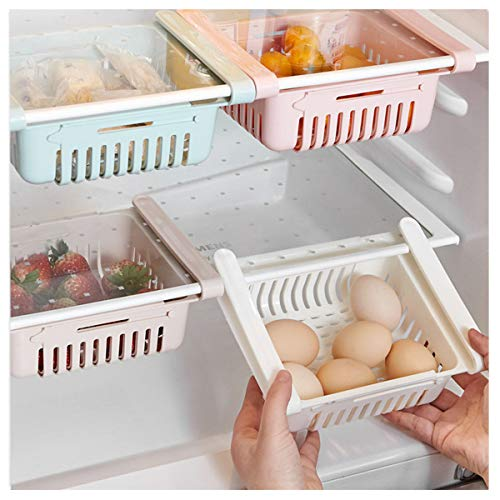 Smniao Kühlschrank Schublade Organizer Ausziehbare Kühlschrank Regal Halter Aufbewahrungsbox Kühlschrank Partition Layer Home Organizer (4 Stück, Weiß)