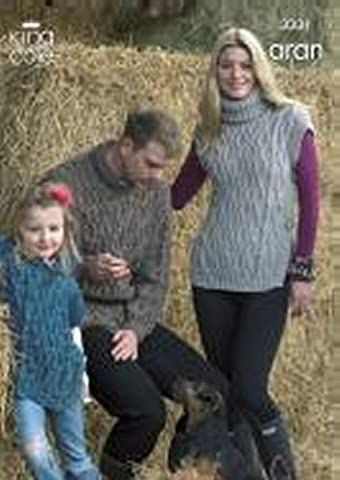 King Cole Knitting Pattern 3331 : Family Aran Sweater and Tabards (28-44in)