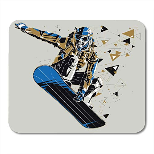 "AOHOT Mauspads Blue Snowboard Snowboarder Graphic Trail Sport Winter Athletic Board Mouse pad 9.5"" x 7.9\"" for Notebooks,Desktop Computers Accessories Mini Office Supplies Mouse Mats"