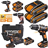 CORDLESS LITHIUM 20V WORX BRUSHLESS COMBI HAMMER DRILL DRIVER COMPLETE KIT X2 LITHIUM BATTERIES   RAPID 45 MINUTE CHARGER IN HEAVY DUTY CASE