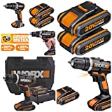CORDLESS LITHIUM 20V WORX BRUSHLESS COMBI HAMMER DRILL DRIVER COMPLETE KIT X2 LITHIUM BATTERIES + RAPID 45 MINUTE CHARGER IN HEAVY DUTY CASE