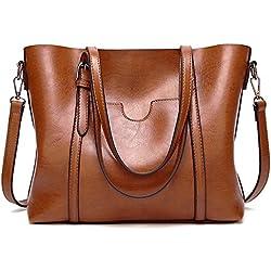 Bolso Mujer Cuero Moda Marca Bolso Bandolera Grande Capacidad Casual Suave Piel Bolsa de la Compra Bolsa Mensajero (marrón)
