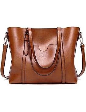 ECOTISH Premium Damen Handtasche Leder Henkeltasche Vintage Umhängetasche Schultertasche große Kapazität Shopper...
