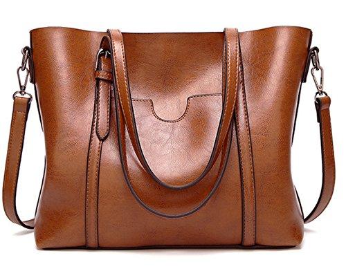 ECOTISH Premium Damen Handtasche Leder Henkeltasche Vintage Umhängetasche Schultertasche große Kapazität Shopper Tasche (Braun)