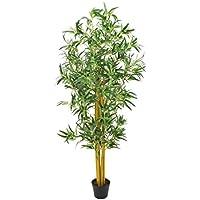 artplants Lot 2 x Bambou Artificiel avec de Nombreuses Cannes de Bambou Naturelles, 180 cm - 2 Pcs Plante Exotique Artificielle