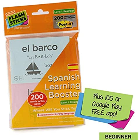 FlashSticks - Hojas autoadhesivas con vocabulario de español para principiantes (nivel 1, en inglés, 200 piezas), color amarillo