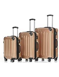 Doble Rodillos 2048 carcasa rígida maleta trolley viajes Maleta set en M, L, XL en 14 colores, dorado, XL