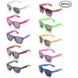 ONNEA 10 Piezas Gafas de Sol Fiesta Colores Paquete Años 80 (Multicolor 10-Paquete)