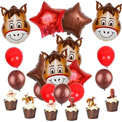 oy Party Supplies und Dekorationen gehören Pferd Ballons und Cake Topper ()