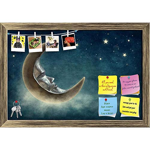 Artzfolio Night Time With Stars & Moon Printed Bulletin Board Notice Pin Board | Antique Golden Frame 23.5 X 16Inch