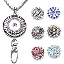 Sole Ebee Interchangeable Silver Wheel Necklace Lanyard ID Card Holder Click Button Key, ID Badge Holder Pack Of 6Pieces Alloy Rhinestone Click Button, Alloy