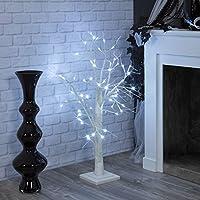 Albero bianco con neve 100 cm, 60 led bianco freddo, albero decorato, alberi luminosi, decorazioni luminose